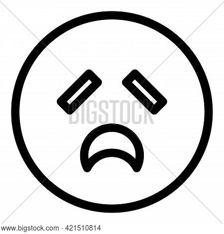 Exhausted Emoji Icon. Outline Exhausted Emoji Vector Icon For Web Design Isolated On White Backgroun