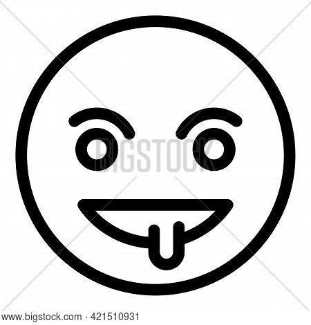 Evil Emoji Icon. Outline Evil Emoji Vector Icon For Web Design Isolated On White Background