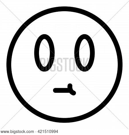 Confused Face Icon. Outline Confused Face Vector Icon For Web Design Isolated On White Background