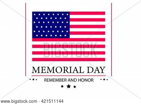 Day Of Remembrance. American National Flag With Stars. Feast Of Memory And Honor. Banner Template. I