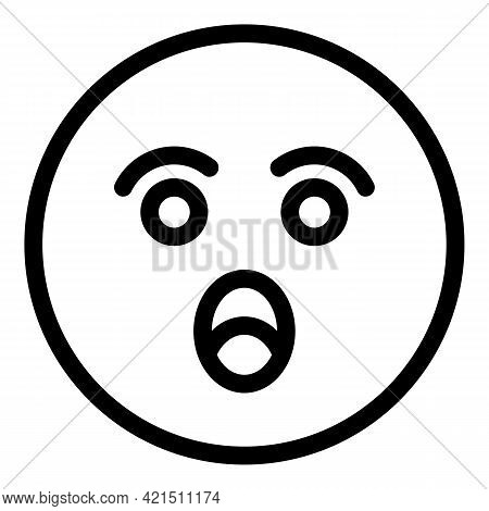 Surprised Face Icon. Outline Surprised Face Vector Icon For Web Design Isolated On White Background
