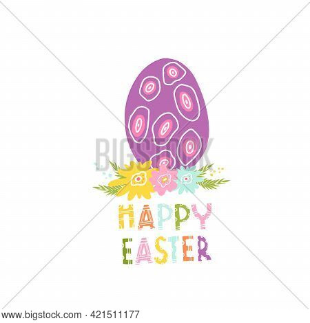 A Decorative Egg For A Happy Easter. Vector Isolated Illustration With An Easter Card. Egg With Patt