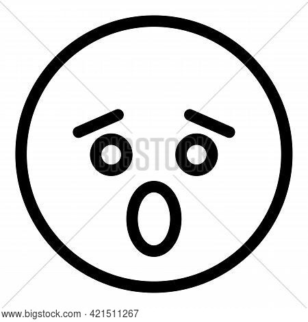 Fearful Face Icon. Outline Fearful Face Vector Icon For Web Design Isolated On White Background