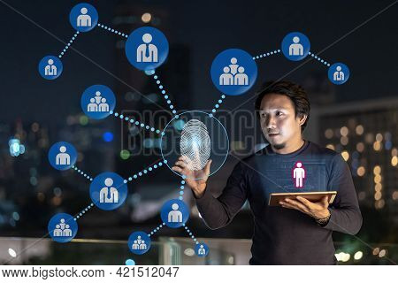 Asian Creative Freelancer Using Technology Tablet With Authentificate By Fingerprint And Ar For Conn