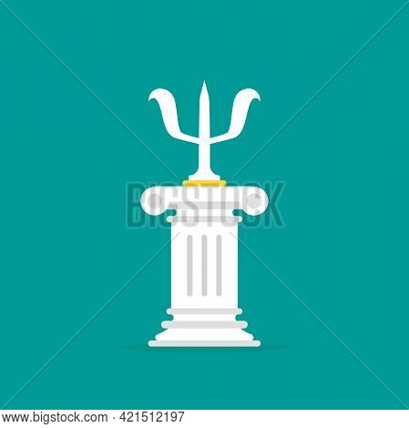 Antique Pillar With Big Letter Psi. Podium, Greek Column For Best Therapy. Psychotherapy And Psychol