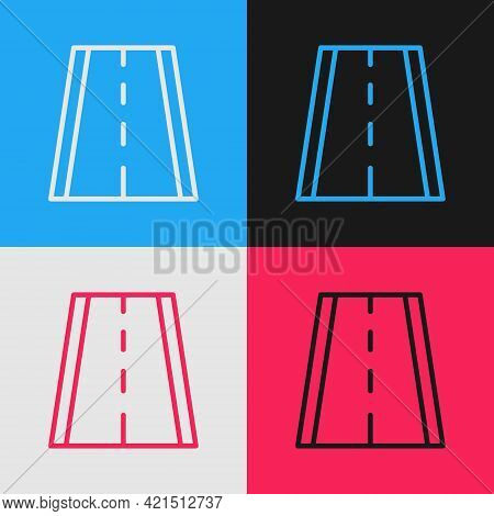 Pop Art Line Special Bicycle Ride On The Bicycle Lane Icon Isolated On Color Background. Vector