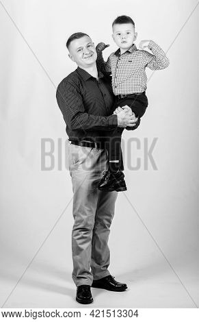 Dad And Adorable Child. Parenthood Concept. Fathers Day. Father Example Of Noble Human. Family Bonds