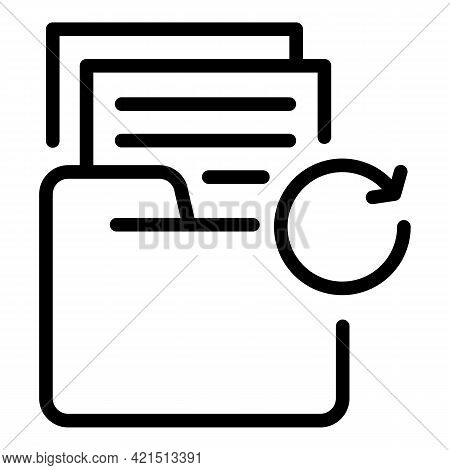 Folder Backup Icon. Outline Folder Backup Vector Icon For Web Design Isolated On White Background