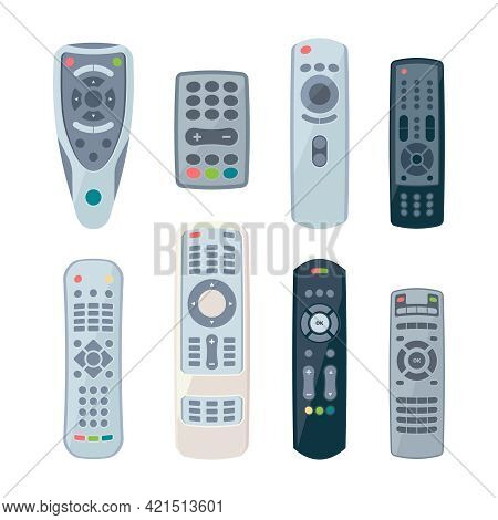 Remote Controllers For Tv. Electronic Control Items For Smart Home And Different Technics Garish Vec