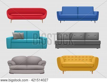 Sofa Comfortable. Realistic Furniture For Lounge Room Modern Interior Items Colorful Sofa Decent Vec
