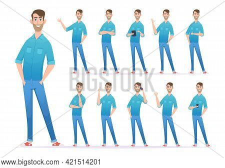 Casual Style Man. Gestures Of Man In Denim Jeans Confident Presenter Looking Characters Exact Vector