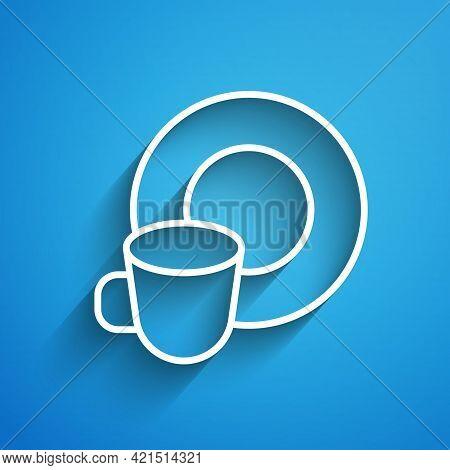 White Line Washing Dishes Icon Isolated On Blue Background. Cleaning Dishes Icon. Dishwasher Sign. C