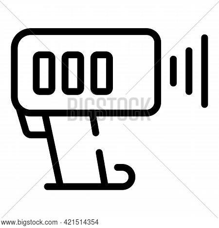 Speed Radar Gun Icon. Outline Speed Radar Gun Vector Icon For Web Design Isolated On White Backgroun