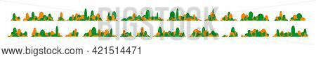 Collection Of Horizontal Landscapes From Trees. A Set Of Trees. Vector Illustration Isolated On Whit