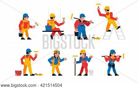 Painters Workers Set. Men And Women Are Painters. Finishing Works, Wall Painting, Plastering, Repair