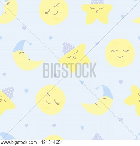 Vector Seamless Pattern With Moon (crescent), Stars And Hearts On Blue. For Fabric, Textile And Line