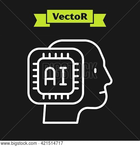 White Line Humanoid Robot Icon Isolated On Black Background. Artificial Intelligence, Machine Learni