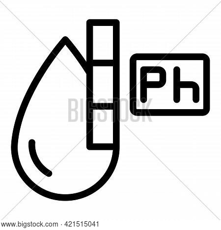 Water Drop Ph Icon. Outline Water Drop Ph Vector Icon For Web Design Isolated On White Background