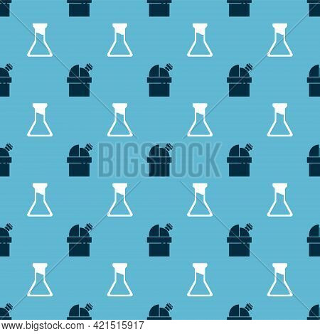 Set Astronomical Observatory And Test Tube And Flask On Seamless Pattern. Vector