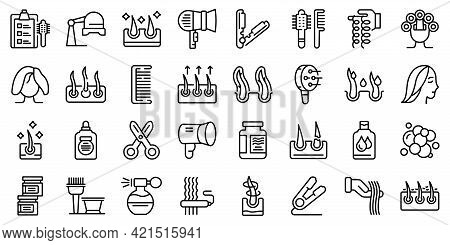 Curly Hair Icons Set. Outline Set Of Curly Hair Vector Icons For Web Design Isolated On White Backgr