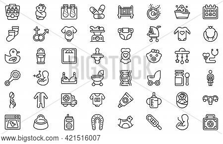 Maternity Icons Set. Outline Set Of Maternity Vector Icons For Web Design Isolated On White Backgrou