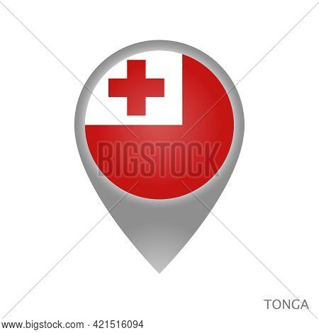 Map Pointer With Flag Of Tonga. Tonga Pointer Map Isolated Icon. Vector Illustration