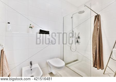 Modern Interior Of Washroom With Glass Shower Cabin And White Hung Wall Toilet With Bidet