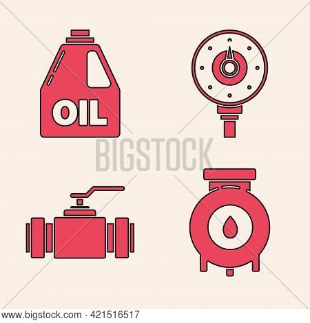 Set Oil And Gas Industrial Factory Building, Canister For Motor Machine Oil, Motor Gas Gauge And Ind