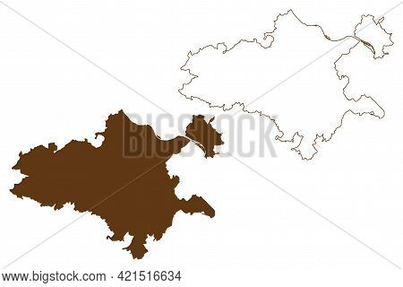Mayen-koblenz District (federal Republic Of Germany, State Of Rhineland-palatinate) Map Vector Illus