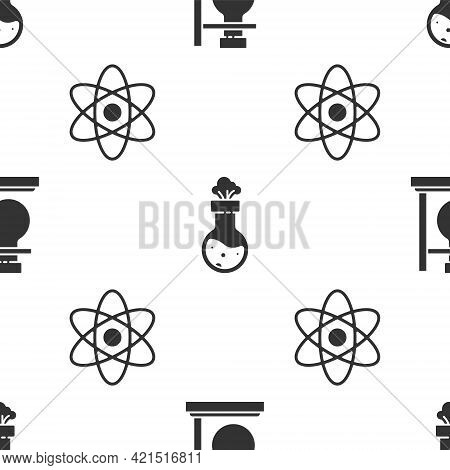 Set Test Tube Flask On Stand, Test Tube And Flask Chemical And Atom On Seamless Pattern. Vector