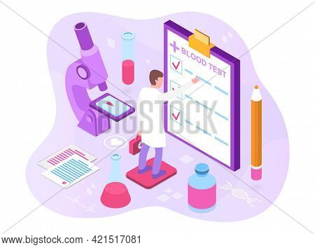 Blood Test And Laboratory Research Blood Samples. Sampling Of Material, Laboratory Tests And Medical