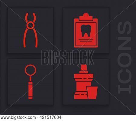 Set Mouthwash Plastic Bottle, Dental Pliers, Clipboard With Dental Card And Dental Inspection Mirror