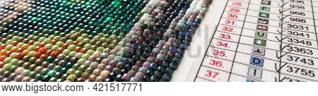 Banner With Diamond Painting Embroidery Craft. Acrylic Rhinestones.table With Numbers, Color Matchin