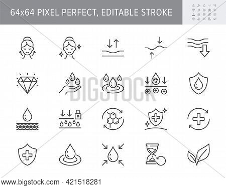 Cosmetic Properties Line Icons. Vector Illustration Include Icon - Shield, Face Lifting, Collagen, D