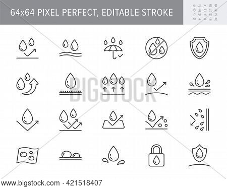 Waterproof Line Icons. Vector Illustration Include Icon - Shield, Hydrophobic Material, Membrane, Um