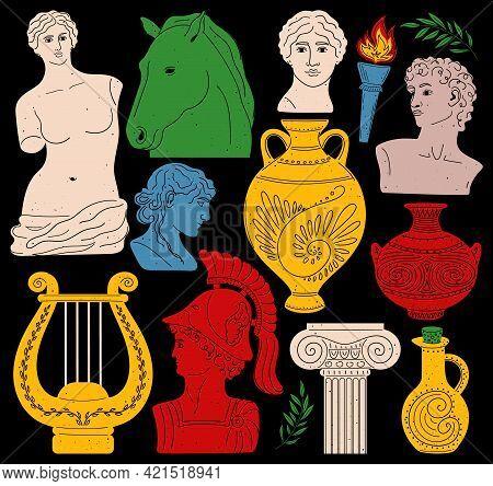Set Of Antique Statues And Sculptures. Aphrodite Venus Portrait. Antique Greek Sculpture Set.