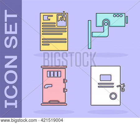 Set Lawsuit Paper, Lawsuit Paper, Prison Cell Door And Security Camera Icon. Vector