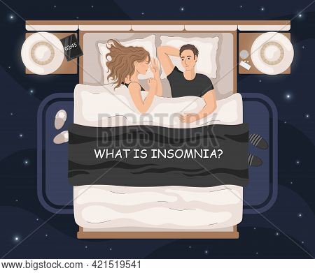 Insomnia Concept Vector Illustration. Young Man Lying In Bed With Open Eyes With Woman. What Causes