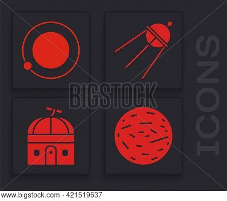 Set Planet Venus, Satellites Orbiting The Planet Earth, Satellite And Astronomical Observatory Icon.