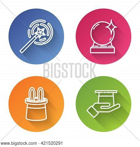 Set Line Magic Wand, Magic Ball, Magician Hat And Rabbit Ears And Magician Hat In Hand. Color Circle