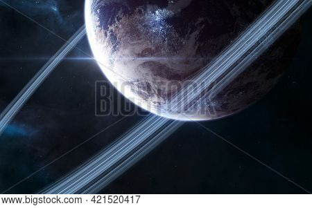 Inhabited Planet In Deep Space. Beautiful Cosmic Landscape. Science Fiction. Elements Of This Image