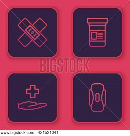 Set Line Crossed Bandage Plaster, Hospital Medical, Medicine Bottle And Sanitary Napkin. Blue Square