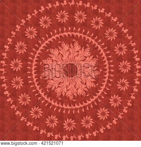 Textile Ornamental Pattern For Fabrics On White Background Isolated