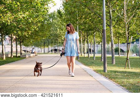 Young Beautiful Young Brunette Cheerful Girl In Blue Dress Walks With Her Dog In A City Park. Dog Br