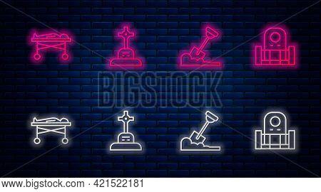 Set Line Grave With Cross, Shovel In The Ground, Dead Body Morgue And Tombstone. Glowing Neon Icon O