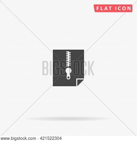 Archive Zip File Flat Vector Icon. Hand Drawn Style Design Illustrations.