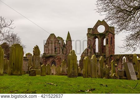 Arbroath, Scotland, Uk - 04 February 2016: View Of The Red Brick Ruins Of Arbroath Abbey, Famously A
