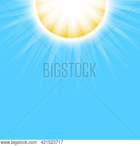 Bright Sun With Sun Rays On Blue Sky Background. Beautiful Sunny Banner With Sunburst Sunbeams. Dazz