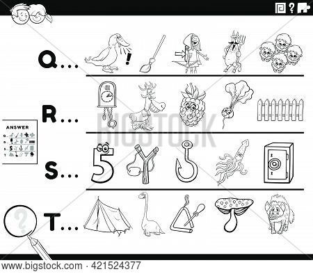 Black And White Cartoon Illustration Of Finding Pictures Starting With Referred Letter Educational T