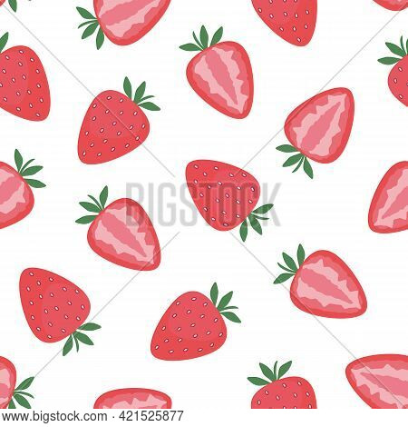 Strawberry, Whole And Cut Berries. Seamless Pattern On White. Flat Vector Illustration. Texture For